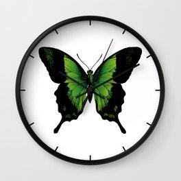 Green Butterfly Wall Clock