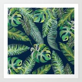 Jungle Leaves, Banana, Monstera, Blue Art Print