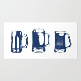 Navy Beer Mugs Art Print