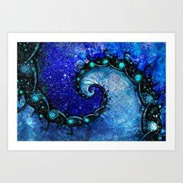 Beautiful Blue Nocturne of Scorpio Sapphire Spiral Art Print