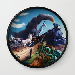 Classical Masterpiece 'Wreck of the Ol' 97' By Thomas Hart Benton Wall Clock