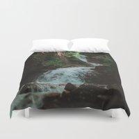 alaska Duvet Covers featuring Alaska Waterfall by Leah Flores