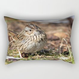 Staredown with a Lincoln's Sparrow Rectangular Pillow
