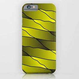 Slanting repetitive lines and rhombuses on iridescent yellow with intersection of glare. iPhone Case