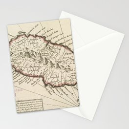 Vintage Map of Saint Kitts (1732) Stationery Cards