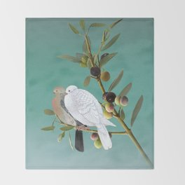 Doves in Olive Tree Throw Blanket