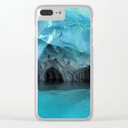 Marble blue 3 Clear iPhone Case