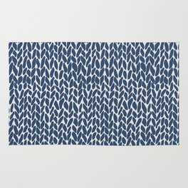 Hand Knit Navy Rug