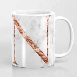 Monogram rose gold marble N Coffee Mug