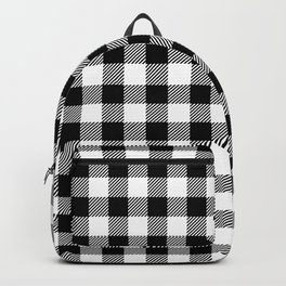 Black and White Gingham Farmhouse Plaid Pattern Backpack