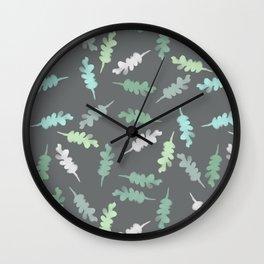 Watercolor Painted Oak Leaves Wall Clock