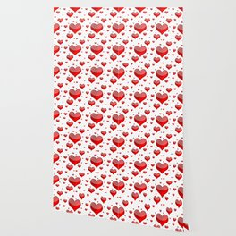 Hearts Red and White Wallpaper