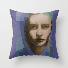 Real girl, digital world Throw Pillow