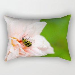 Cucumber Beetle & Winter Rose Rectangular Pillow
