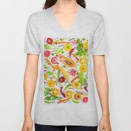 Fruits and vegetables pattern (31) Unisex V-Neck