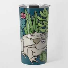 Toad with Succulents - Dark Turquoise Travel Mug