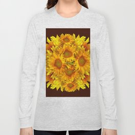 YELLOW SUNFLOWERS CHOCOLATE GARDEN ART Long Sleeve T-shirt