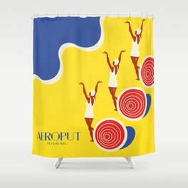 "EX-JU poster ""AEROPUT"" Shower Curtain"