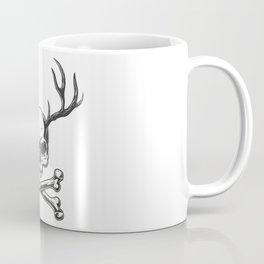 Vintage Monochrome Skull With Deer Horns Coffee Mug