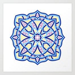 Blue and White Multicoloured Spot Mandala  Art Print