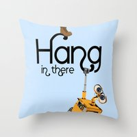 pixar Throw Pillows featuring Pixar/Disney Wall-e Hang in There by Teacuppiranha