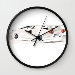 White Lamborghini Countach 1985 Wall Clock
