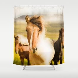 Three horses watercolor painting #2 Shower Curtain