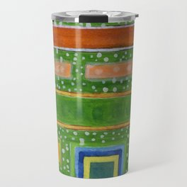 Filled Rectangles on Green Dotted Wall Travel Mug