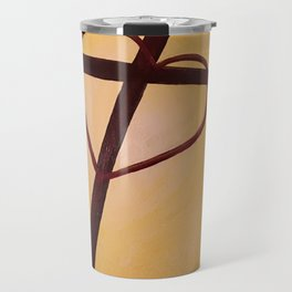 Heart Cross on Orange Travel Mug
