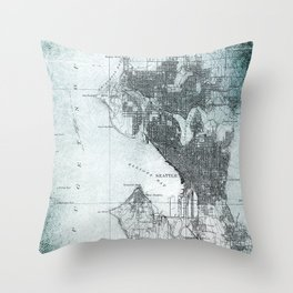 Vintage Seattle City Map Throw Pillow