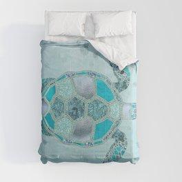 Glamour Aqua Turquoise Turtle Underwater Scenery Comforters