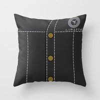 persona 4 Throw Pillows featuring Persona 4 Yosuke Hanamura Uniform by Bunny Frost