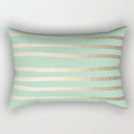 Stripes Metallic Gold Mint Green Rectangular Pillow