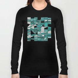 Turquoise and grey Long Sleeve T-shirt