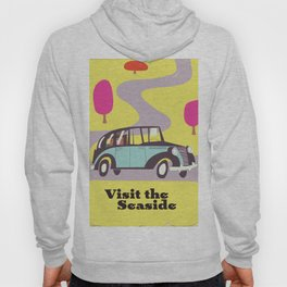 Visit the Seaside vintage car poster Hoody