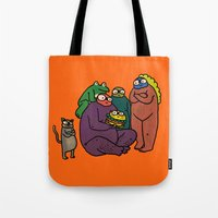 burger Tote Bags featuring Burger by frogandfly