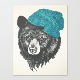 bear in blue Canvas Print