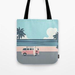 Surfer Graphic Beach Palm-Tree Camper-Van Art Tote Bag