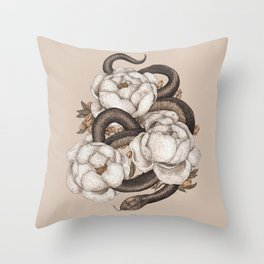 Snake and Peonies Throw Pillow