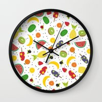 fruits Wall Clocks featuring Fruits by Ananá
