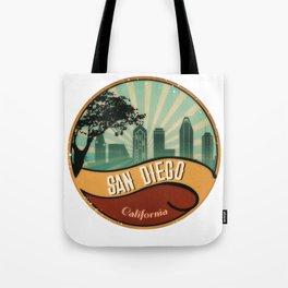 San Diego City Skyline California Retro Vintage Design Tote Bag