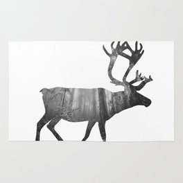 Moose Silhouette | Forest Photography Rug