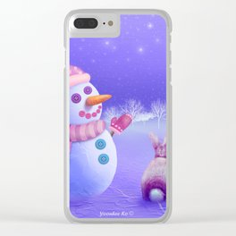 Winter Night Moon Watching Clear iPhone Case