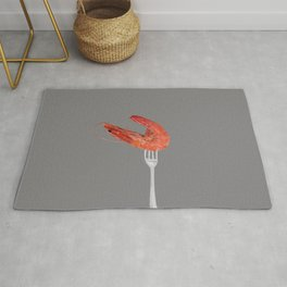 fork with shrimps grey Rug