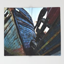 Blue Boats Throw Blanket