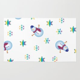 Snowflakes & Snowman_F Rug