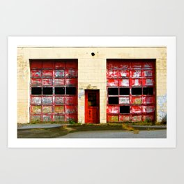 Red Doors on Garage #1 & #2 Art Print