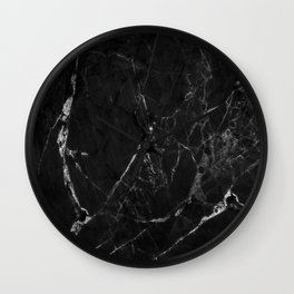 Black Marble Print II Wall Clock