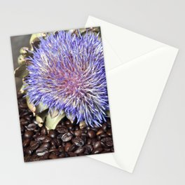 Fresh Coffee Beans with Blue Artichoke Stationery Cards