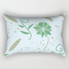 Green Blue and Gold Floral Feather Pattern Rectangular Pillow